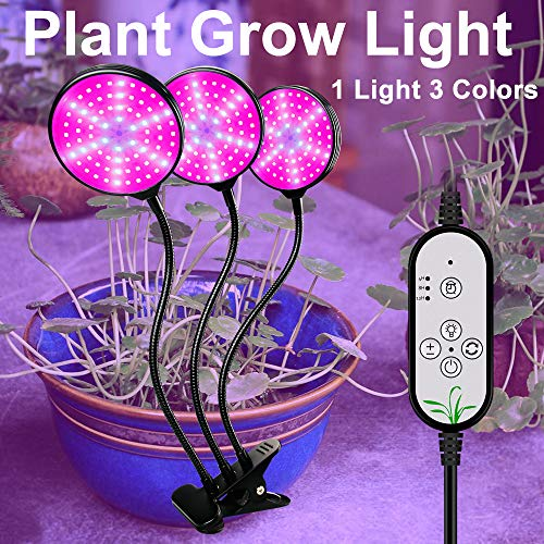 ZJING Grow Light, Grow Lights for Indoor Plants,Full Spectrum, Plant Grow Light for Greenhouse Hydroponics, Vegetables and Flowers, High Stability LED Plant Light,3 head
