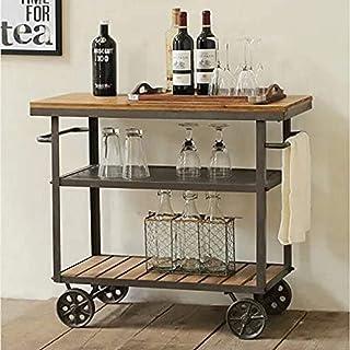 Furvokia Carrito de madera de metal para interior o exterior con ruedas cocina bar comedor té vino mueble para servir