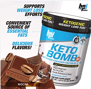 BPI Sports Keto Bomb Ketogenic Creamer for Coffee & Tea with MCT Oil, Saffron & Avocado Oil Powder to Support Weight Loss- All Natural Pumpkin Spice, 18 Servings, Mocha