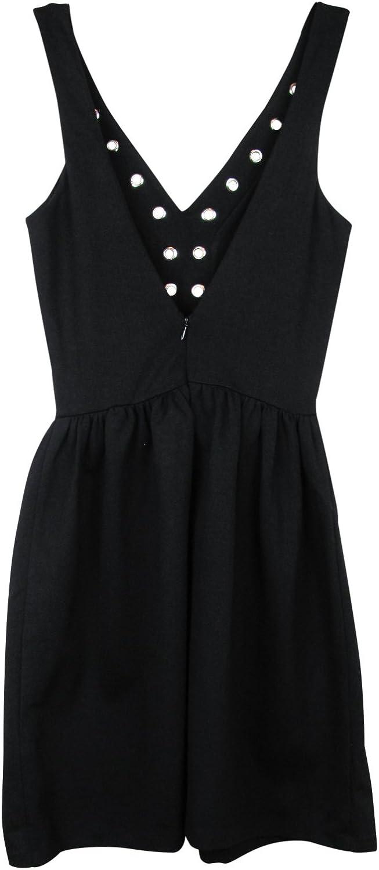 Aqua Womens Ponte Grommet Mini Dress Black S
