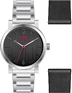 ساعة للرجال من هوغو بوس بمينا اسود وسوار جلدي اسود اللون - 1530124