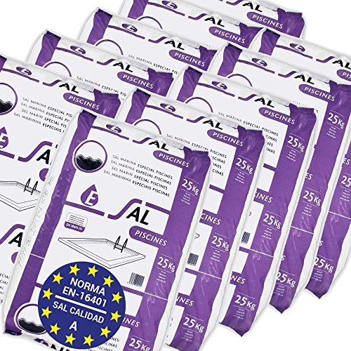 Pack de 250 Kg (10 Sacos de 25 kg.) ENISAL Sal Especial Piscinas – Cumple con la Norma Europea EN 16401/A (Sal Calidad A para Piscinas de electrólisis Salina)