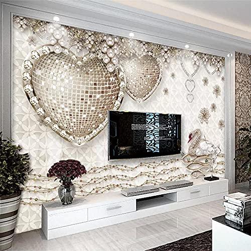 Papel pintado de cisne de piedras preciosas de amor de lujo 3D estéreo TV fondo papel de pared sala de estar sofá dormitorio revestimiento de paredes-140cmx100cm