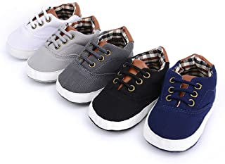 Mjun® Baby Boys Girls Toddlers Canvas Sneakers Lace Up Anti-Slip Outdoor Shoes (12-18 Months, White 2)