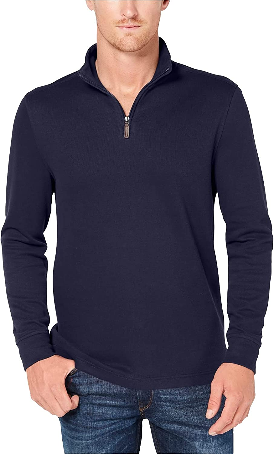 Club Room Mens Sweater Navy Small 1/2 Zip French Ribbed Pullover Blue S