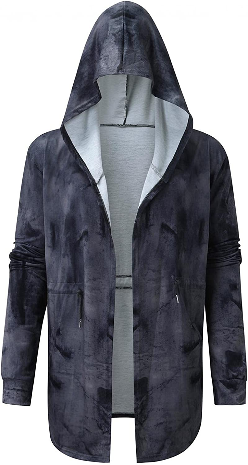 JSPOYOU Mens Hoodie Cardigan Open Front Longline Graphic Draped Trench Coat Lightweight Large Cape Cloak Gothic Jacket