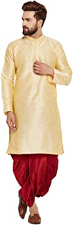 Sojanya (Since 1958) Men's Gold and Maroon Dupion Silk Dhoti Kurta Set