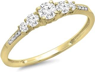 Dazzlingrock Collection 0.40 Carat (ctw) 14K Gold Round Cut Diamond Ladies Bridal 5 Stone Engagement Ring