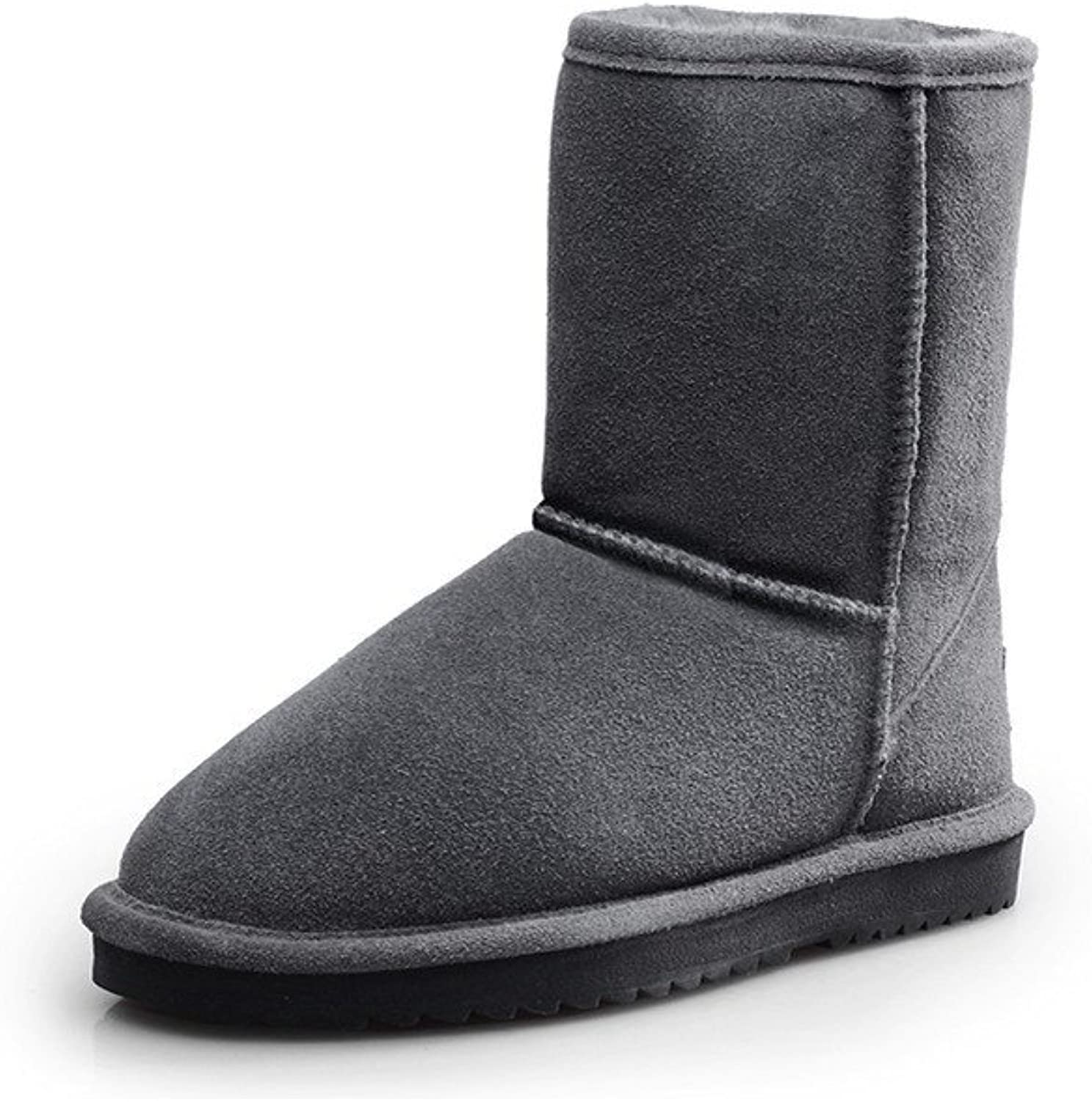 WeiPoot Women's Frosted Solid Round-Toe Boots with Fur-Ornament