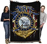 US Navy - Strong - Cotton Woven Blanket Throw - Made in The USA (72x54)