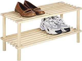 Type A Wooden Shoe Rack Organizer   2 Tier Small Shoe Rack   Stackable for Closets, Bedroom, Entryway, Front Door and Hallway   6-Pair Shoe Storage   Natural Pine