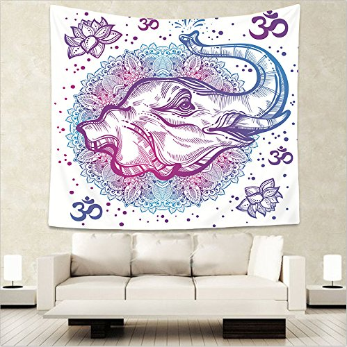 AdoraTapestry Tapiz de Pared Tapestry Wall Hanging Toalla de Playa Beach Towel Yoga Mat Pareos Playa Toalla Mandala Cabeza de Elefante Blanco 150x130cm