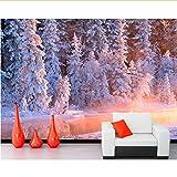 Rureng Mural De Bosques De Invierno Abeto Stream Nieve Naturaleza Foto Papel Pintado De AbetoSala De Estar Sofá Tv Pared Dormitorio Personalizado Mural-450X300Cm