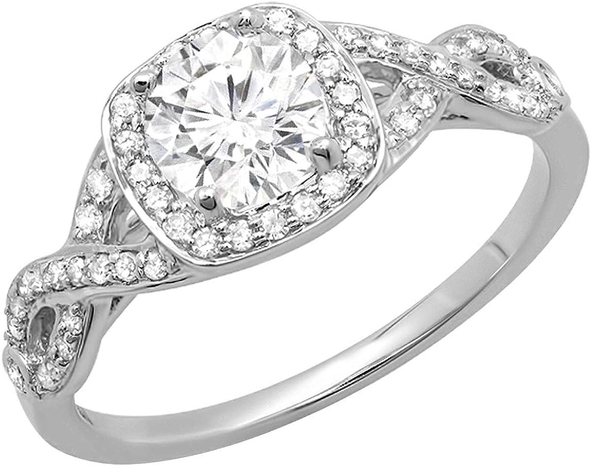 Dazzlingrock Collection 14K Gold Round Moissanite & White Diamond Ladies Swirl Split Shank Halo Engagement Ring