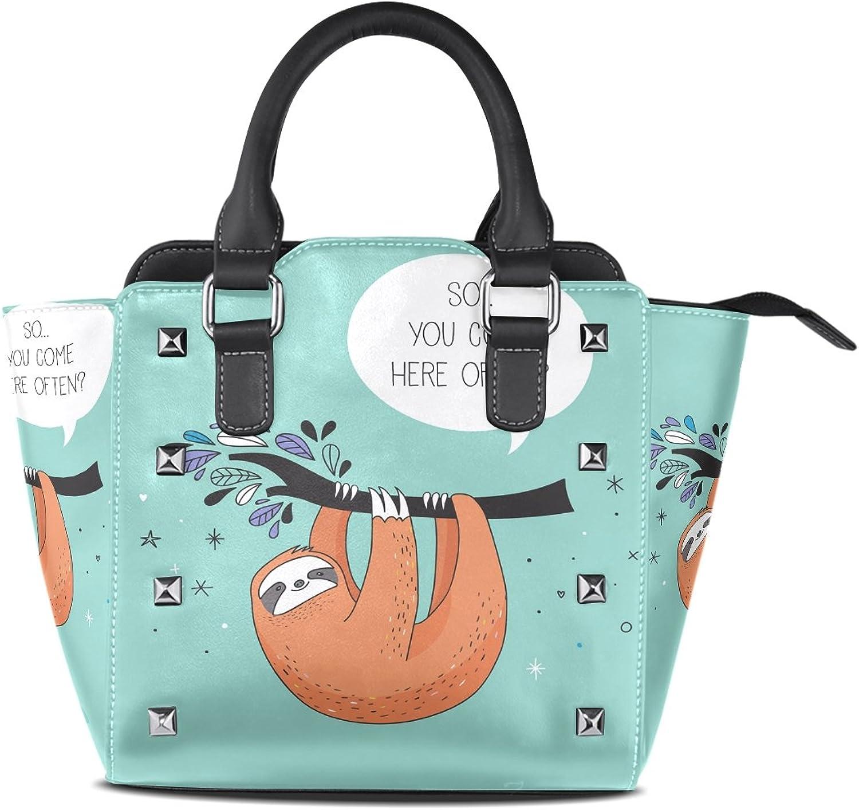 Womens Cute Sloth Leather Handbags Purses Shoulder Tote Satchel Bags