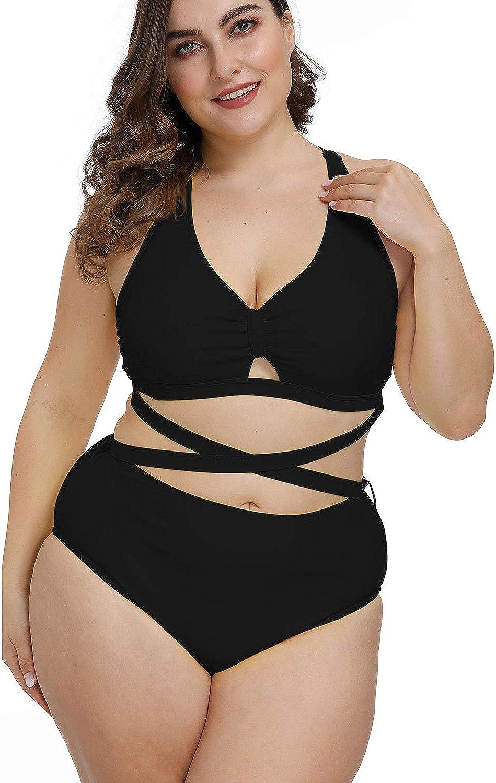 Kisscynest Women's Plus Size Swimwear 2 Piece High Waisted Swimsuit Bathing Suit