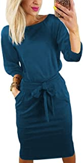 ChainJoy Women Casual Round Neck Long Sleeve Business Wear to Work Belted Pencil Dress with Pockets