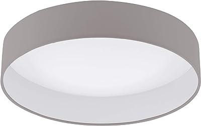 EGLO Plafonnier LED à intensité variable Palomaro 1, plafonnier en tissu, lampe de salon en textile, plastique, couleur taupe, blanc, Ø : 40,5 cm