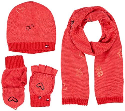 Tommy Hilfiger New Born Girl Poppy GIFTPACK conjunto bufanda, gorro y guantes, Rosa (Rapture Rose 625), Talla única para Mujer