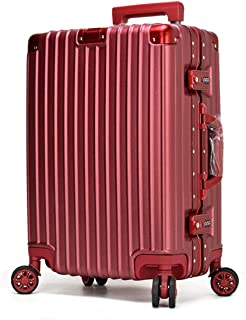 "SRY-Luggage Alloy Material for Easy Trolley Case, Super Storage Luggage Bag, Wheel Travel Rolling Boarding, 20"" 24"" Inches Durable Carry on Luggage (Color : Red, Size : 24inch)"