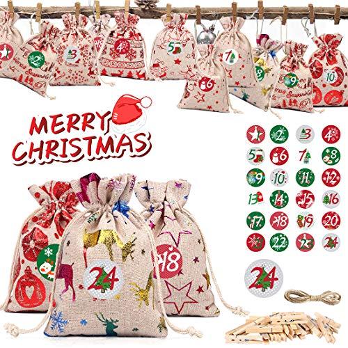 Adventskalender zum Befüllen, DIY Adventskalender 2020,Jutesäckchen Adventskalender, Weihnachten Geschenksäckchen, 24 Weihnachtskalender Bastelset,Stoffbeutel mit 1-24 Adventszahlen Aufkleber