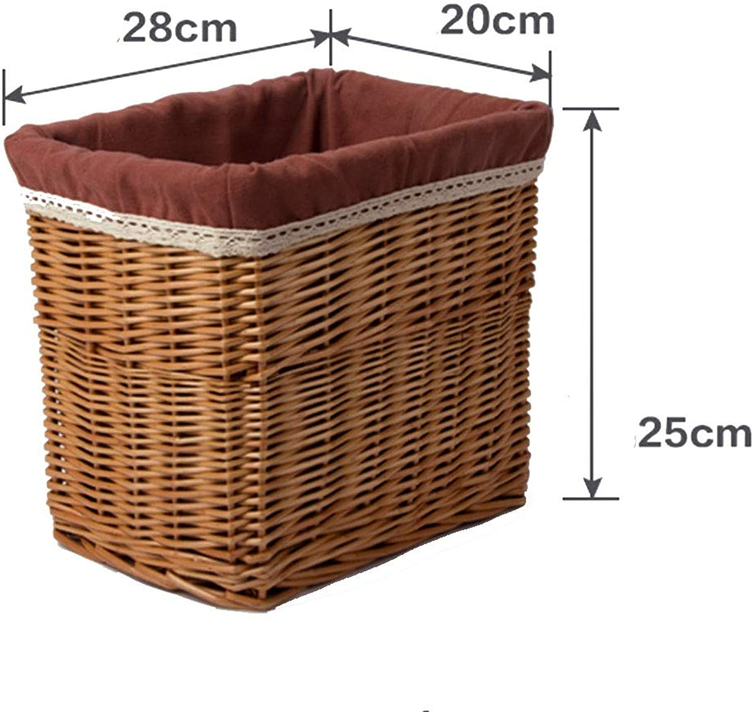ZHANGQIANG Storage Basket Laundry Basket Trunk Storage Chest Hamper Basket Box Removable Lining (Large) (color   Brown, Size   28  20  25cm)