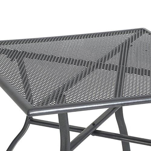 greemotion Gartentisch Toulouse eckig, quadratischer Tisch aus kunststoffummanteltem Stahl, Esstisch mit Niveauregulierung, eisengrau, 70 x 70 x 72 cm - 3