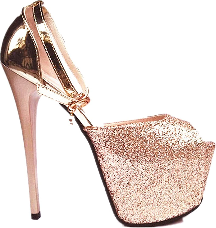 Hanglin Trade Women's High Heels Platform shoes Peep Toe Pumps for Dress Wedding Party