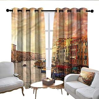 Lewis Coleridge Living Room Curtains Scenery,Italian Venezia Image,Adjustable Tie Up Shade Rod Pocket Curtain 54