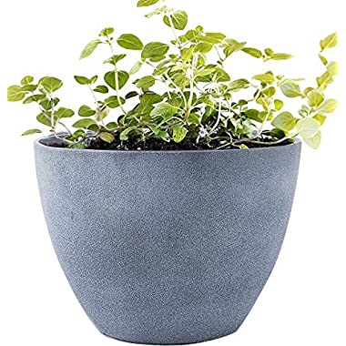 Flower Pot Large 14.2  Garden Planters Outdoor Indoor, Unbreakable Resin Plant Containers with Drain Hole, Grey