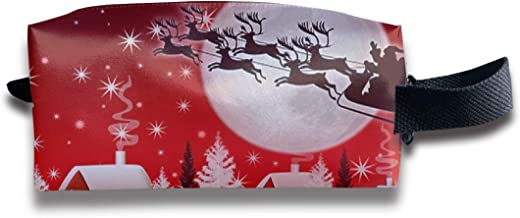 Szipry Cosmetic Bag Travel Handbag Christmas Elk Car Prints Womens Girls Toiletry Bag Zipper Wallet with Wrist Band
