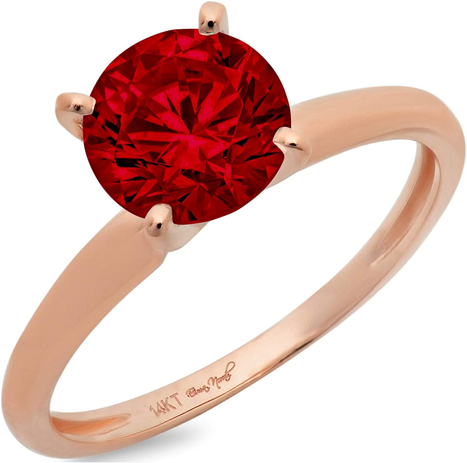 0.4ct Brilliant Round Cut Solitaire Natural Crimson Deep Red Garnet Ideal VVS1 4-Prong Engagement Wedding Bridal Promise Anniversary Ring in Solid 14k Rose Gold for Women