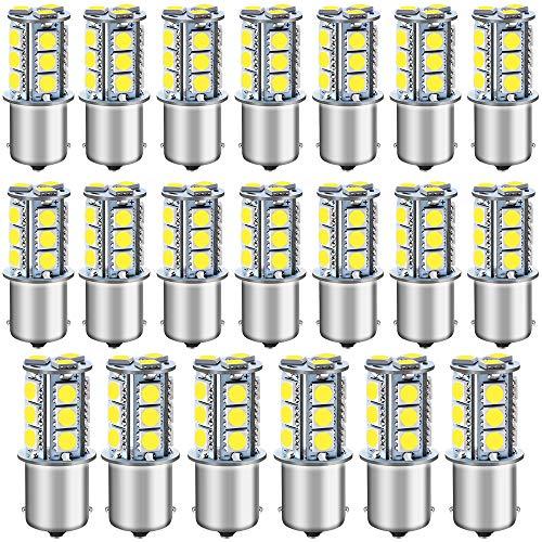 DEFVNSY- paket med 20-6500K vit 1156 BA15S 1141 1003 1073 7506 LED-glödlampor 5050 18-SMD ersättningslampor för 12 V interiör husbil släpvagn belysning båt gård ljus bromsvanlampor