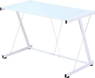555 Glass Top White Computer Desk PC Laptop Tempered Glass Table Workstation Office Home Furniture