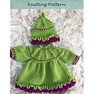 Frilled Dress and Hat Knitting Pattern for premature or newborn baby or doll 12 to 14 inch or 15 to 18 inches