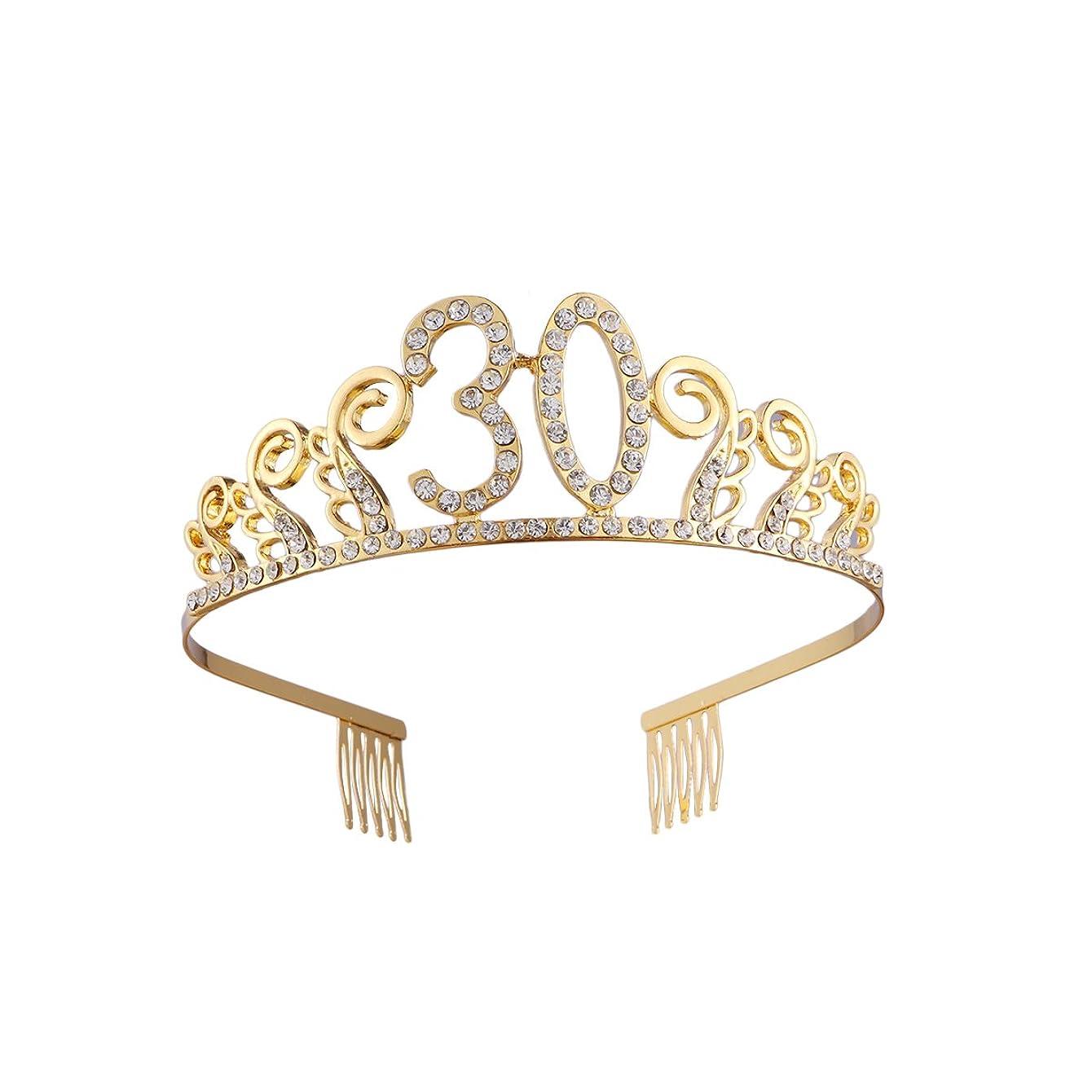 成功する受粉するBeaupretty ゴールドクリスタルラインストーン女性30歳の誕生日ティアラクラウンと髪の櫛30th結婚記念日の贈り物