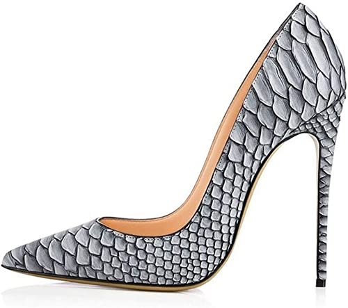 Zapatos de Fiesta de Tacones de Boda de mujer Python gris Dedo del pie Acentuado Bombas de tacón Alto Patrón de Serpiente blancooa zapatos de Corte de Estilete