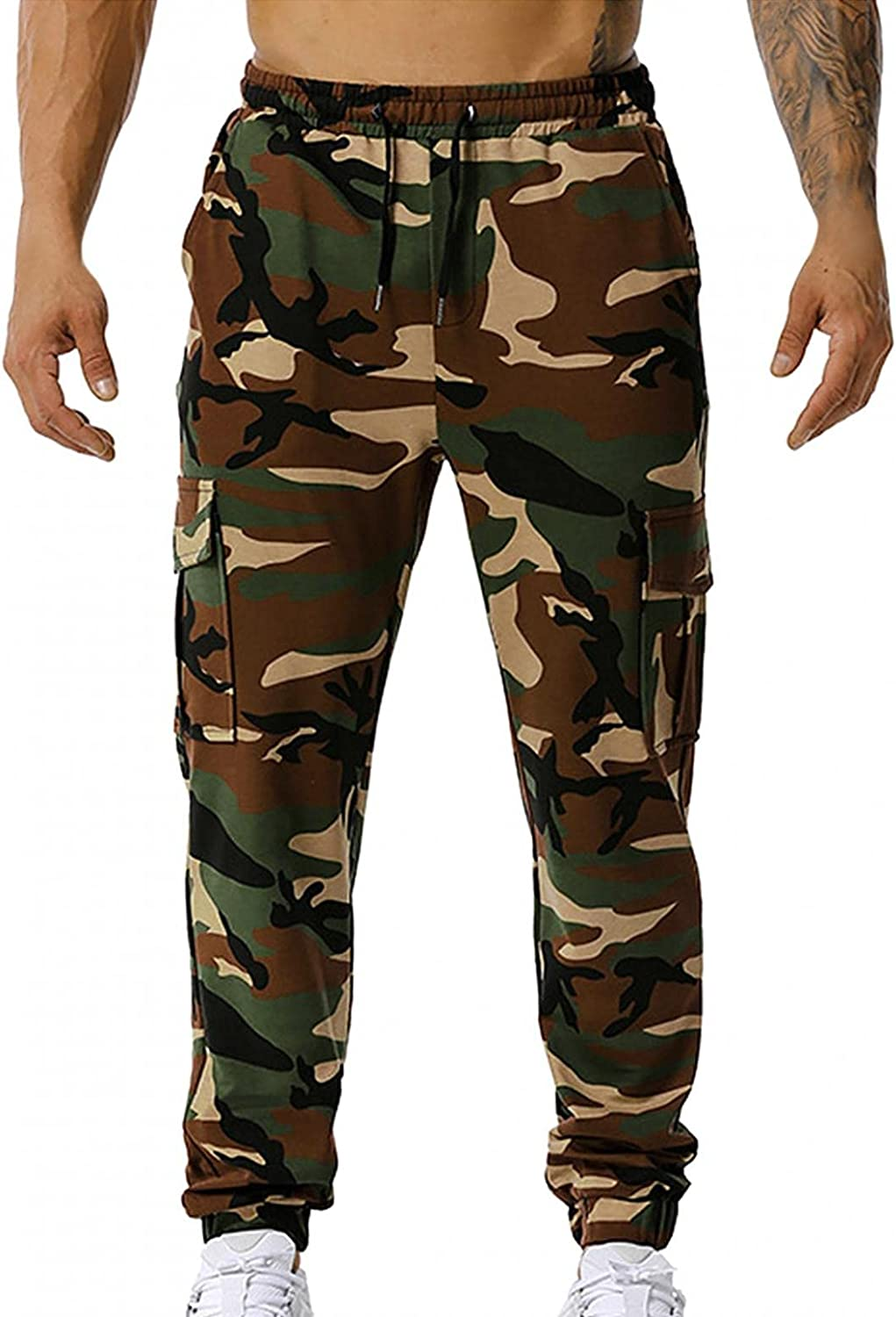 Beshion Sweatpants for Men Jogger Slim Fit Light Breathable Quick Dry Athletic Pants Casual Workout Camouflage Trousers
