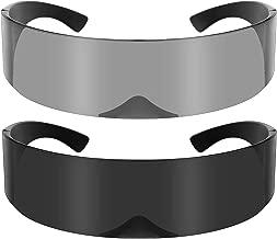 2 Pieces Cyberpunk Visor Sunglasses Futuristic Shield Sunglasses Mirrored Cyclops Sunglasses for Women and Men Party Accessories