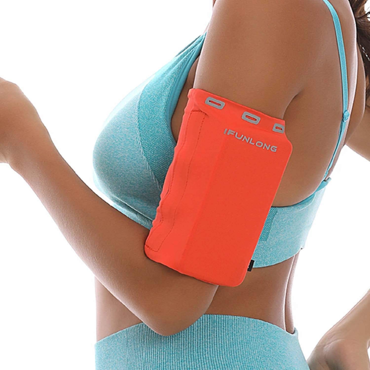 iFunLong Armband for Cell Phone Running | Exercise Working Out Sports Arm Band Sleeve Pouch Case Holder Fits iPhone 12 Pro Max Mini 11 X XR XS 8 7 Plus/Samsung LG Android Phones Upto 8 Inches