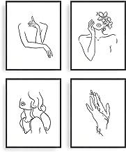 "Minimalist Line Art Prints Set of 4 By Carefree Bee | Aesthetic Art Posters | Wall Art Minimalist Painting | Minimal Wall Art | Drawing Poster | Black/White Prints | Unframed (8"" x 10"")"