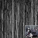 kuou 1 * 2m Foil Fringe Curtains, Black Metallic Tinsel Foil Fringe Backdrop for Birthday Wedding Party Door Window Decoration