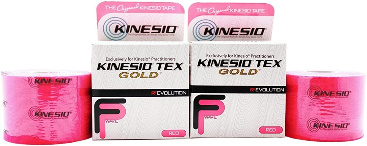 Kinesio Tex Gold FP (FingerPrint) Tape - Red - 2 Inches x 16.4 Feet (2 Pack)