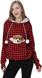 Womens Hoodie Pet Carrier Sweatshirt Kitten Puppy Holder Pouch Tops Shirts