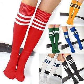 MLPNJ Calcetines hasta la Rodilla para Mujeres NiñasRayas de fútbol Algodón Deportes Old School Calcetines Blancos Skate Girls Long Tube Leg Warm