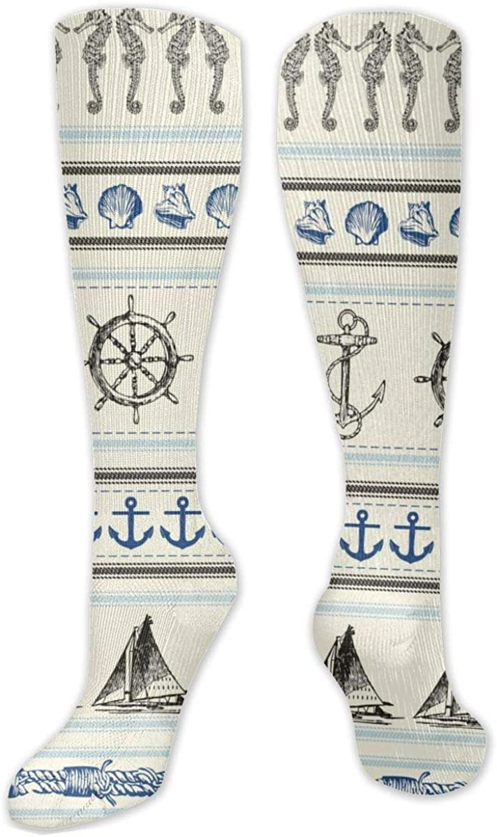 Ivory Striped Nautical Icon Sailboat Knee High Socks Leg Warmer Dresses Long Boot Stockings For Womens Cosplay Daily Wear