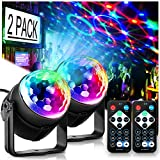 Party Lights Disco Ball Disco Lights, TONGK 7 Colors Dj Lights Led Strobe Light Sound Activated Stage Lights Effect with Remote Control with DJ Festival Bar Pub Club Party Wedding Show Home-2 Pack