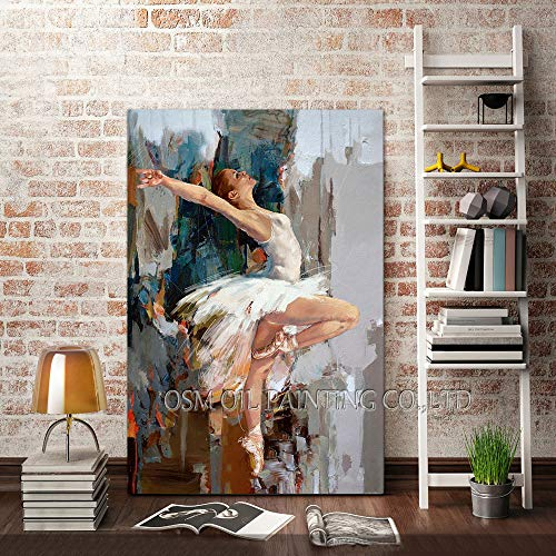 FSGEIV pintura al oleo Habilidades Pintura pintada a mano pura Bailarina de ballet de alta calidad Pintura al óleo sobre lienzo Bailarina realista Pintura de la lona 60x90CM