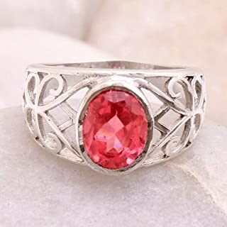 Faceted Pink az Gemstone 925 Sterling Silver Jewelry Solid Ring Size 7#KD-2219