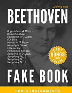 Beethoven Fake Book for C Instruments: Fur Elise, Moonlight & Pathetique Sonata, Symphony No. 5, 6, 7; Ode to Joy and more...